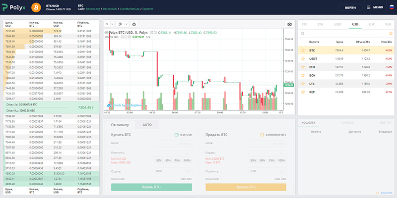 Торговый интерфейс биржи Polyx